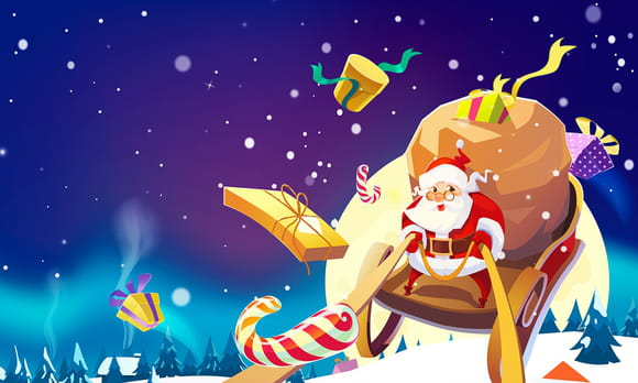 Coloriage le traineau du Père Noël
