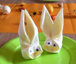 Pliage de serviette en forme de lapin