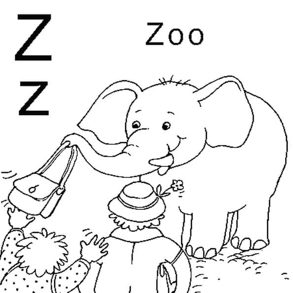Dessin lettre z comme zoo a colorier