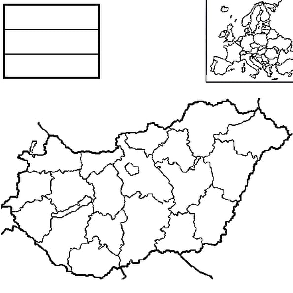 Coloriage carte Hongrie