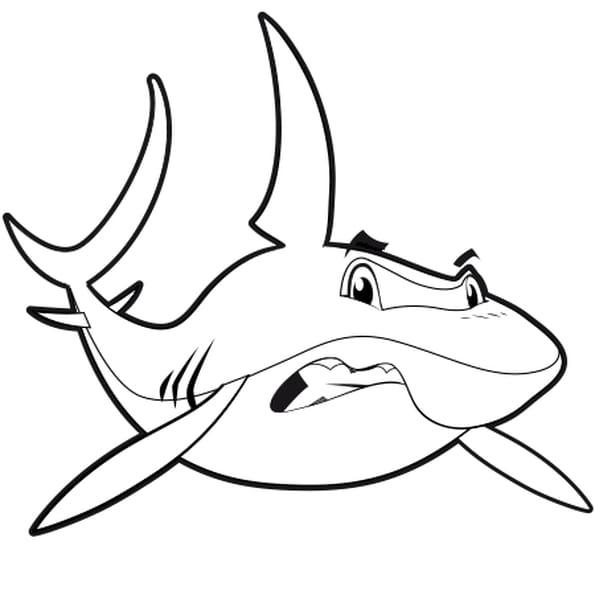 Coloriage Vrai Requin en Ligne Gratuit à imprimer