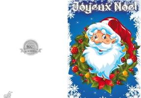 Carte Père Noël et couronne