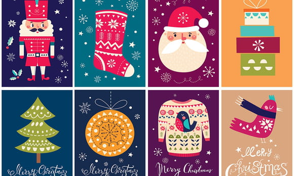 Coloriage cartes de vœux de Noël