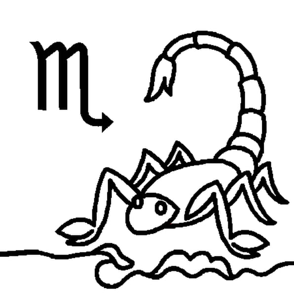 Coloriage Signe du Scorpion en Ligne Gratuit à imprimer