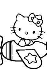Coloriage Hello Kitty dans l'avion en Ligne Gratuit à imprimer