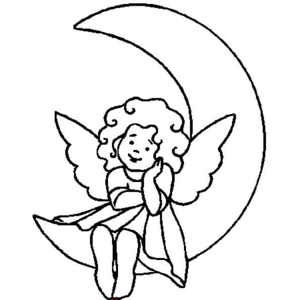 Coloriage ange sur la lune en ligne gratuit imprimer - Ange facile a dessiner ...