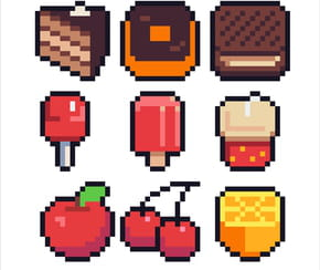 Pack de nourriture en pixel art