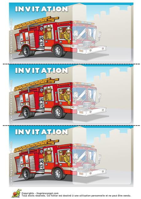 Extrem Carte invitation anniversaire camion de pompiers GW91