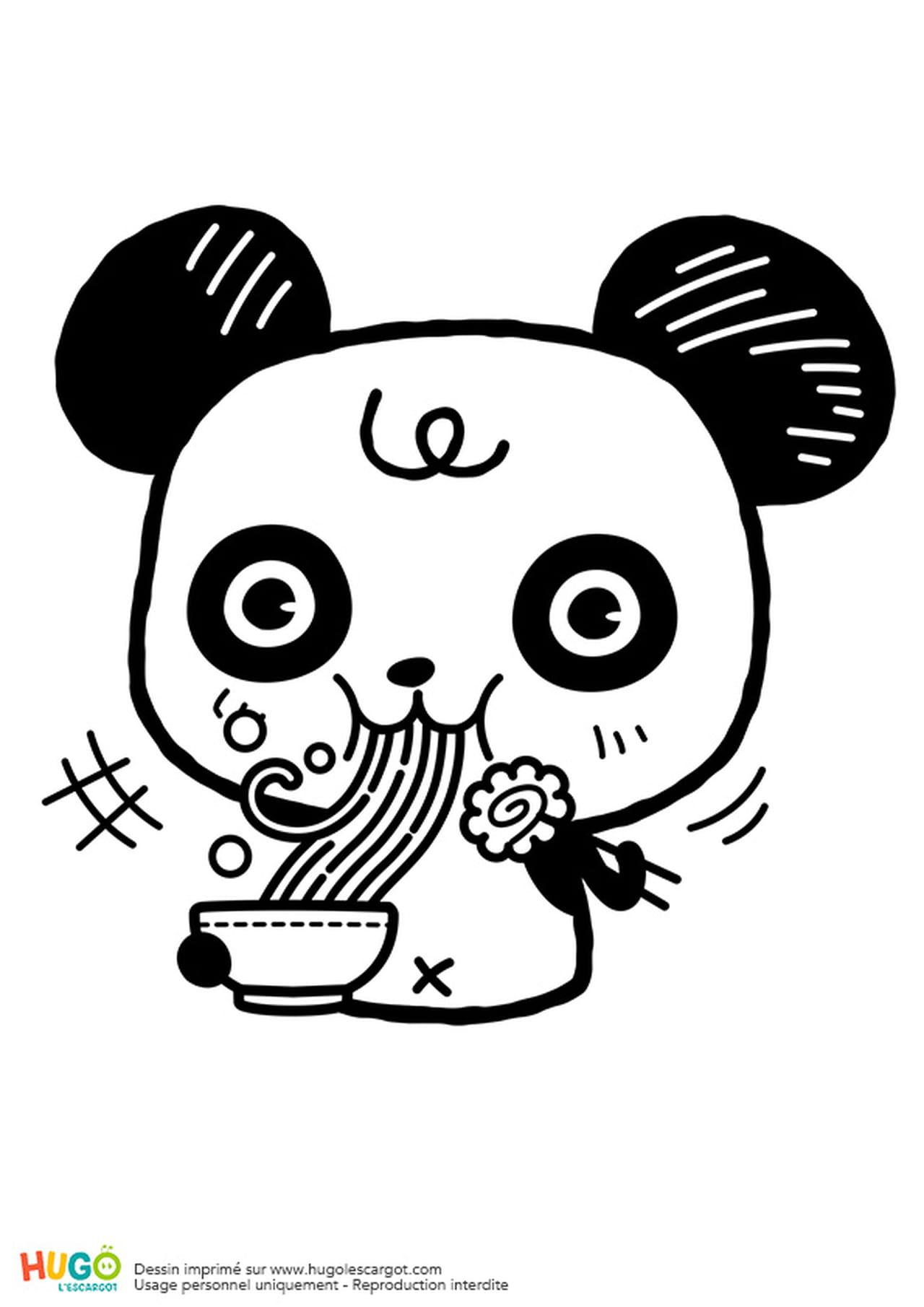 Coloriage Kawaii Panda.Coloriage Panda Et Bol De Ramen Kawaii En Ligne Gratuit A