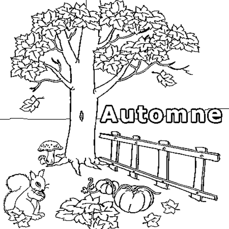 Coloriage Arbre Dautomne.Coloriage Automne En Ligne Gratuit A Imprimer