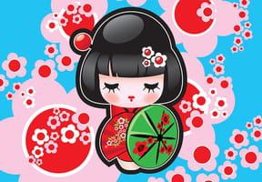 Coloriage Poupées japonaises Kokeshi