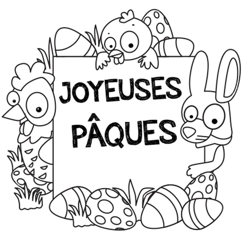 Coloriage Joyeuses Pâques en Ligne Gratuit à imprimer