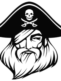 Tête du pirate Barbe Rouge