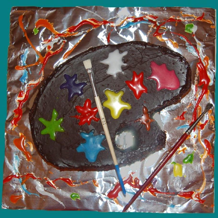 Gâteau Danniversaire Palette De Peinture