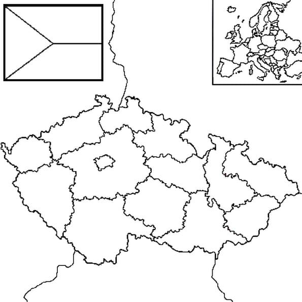 Dessin carte Tchéquie a colorier