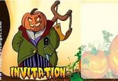 Carte invitation Halloween ogre citrouille