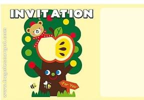 Carte invitation anniversaire pommier rigolo