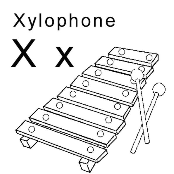 Dessin lettre x comme xylophone a colorier