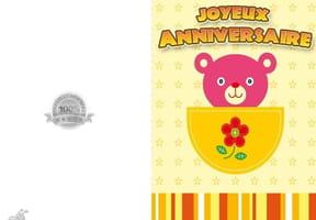 Carte joyeux anniversaire ourson rose