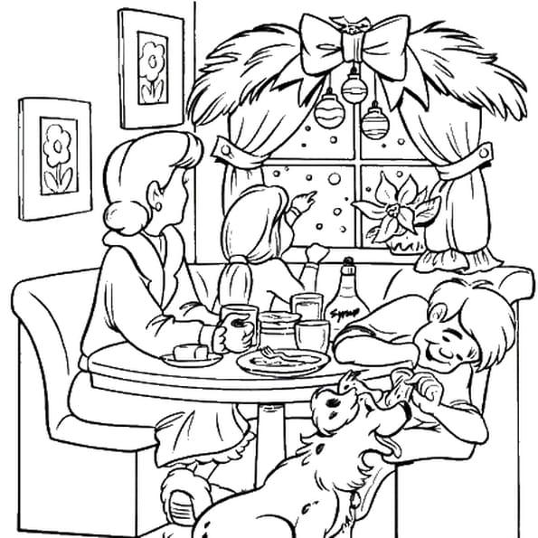 Coloriage repas de noël en Ligne Gratuit à imprimer