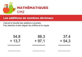 Additions de nombres décimaux niveau 1, exercice 1