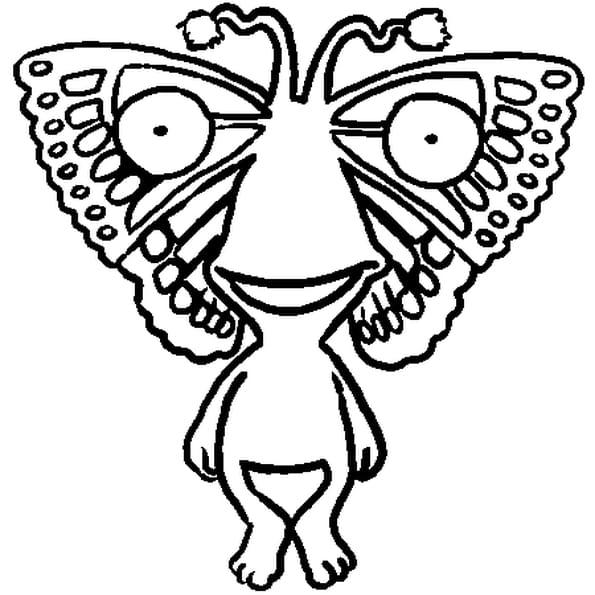 Dessin Dottywot Papillon a colorier