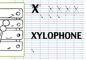 Lettre alphabet X, apprendre à écrire