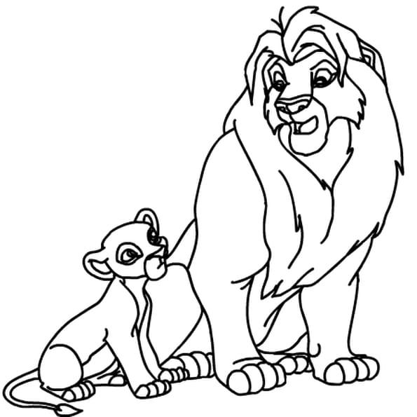 dessin roi lion a colorier