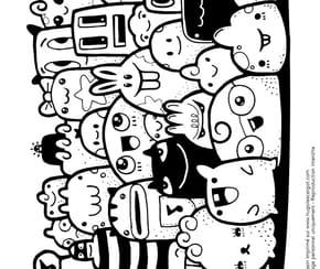 Petits monstres et animaux kawaii