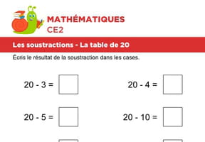 Les soustractions, la table de 20