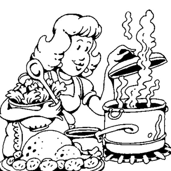 Coloriage Maman Cuisine en Ligne Gratuit à imprimer