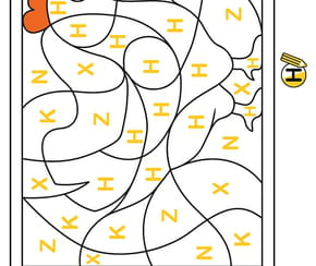 Coloriage magique CP, une poule