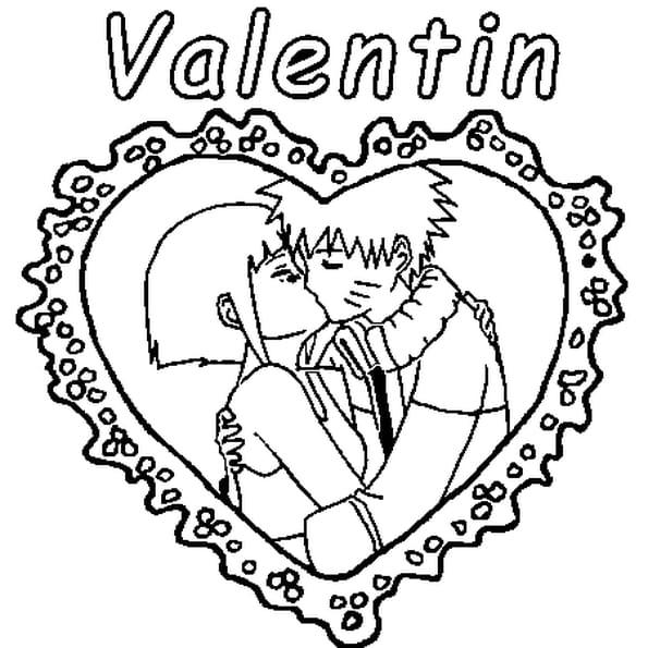 Dessin Valentin a colorier