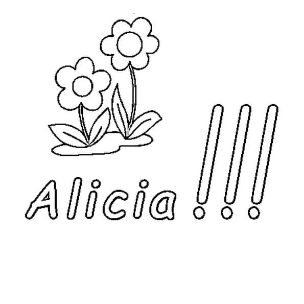 Dessin Alicia a colorier