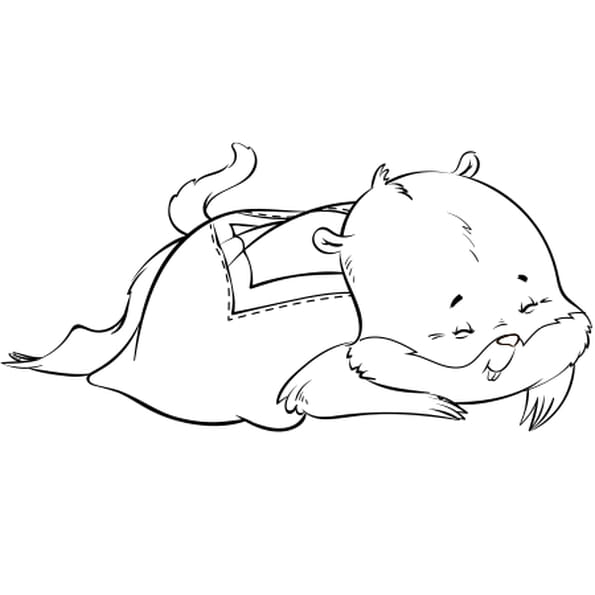 Dessin Marmotte endormie a colorier