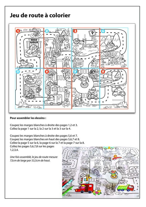 Notice de montage du coloriage géant du jeu de la route