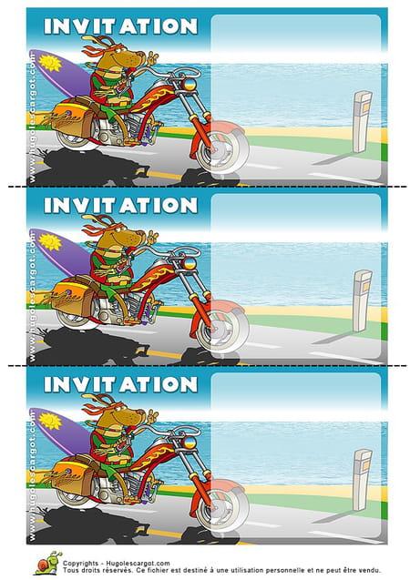 Populaire Carte invitation anniversaire chien sur sa moto WV23