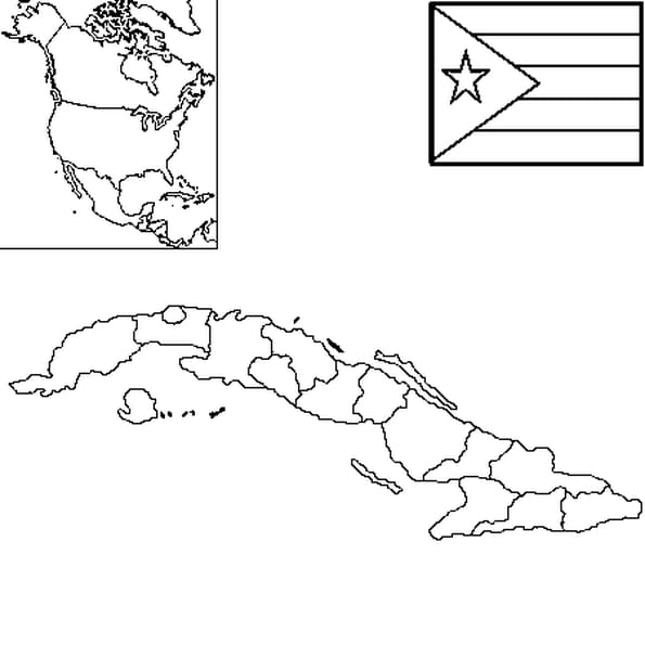 Dessin carte Cuba a colorier