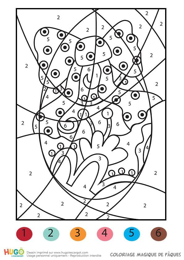 Coloriage Magique De Paques Un œuf Decore