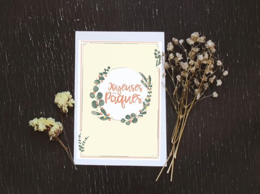 Carte de Pâques couronne de fleurs