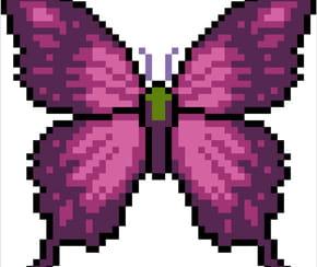 Papillon violet en pixel art