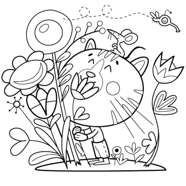 Dessin Chat et Fleur a colorier