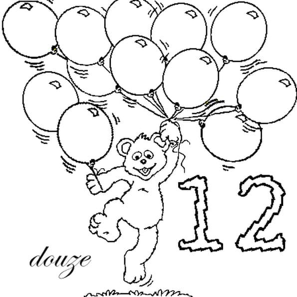 Coloriage nombre 12 en Ligne Gratuit à imprimer