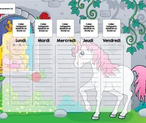 Planning enfant: la princesse et la licorne
