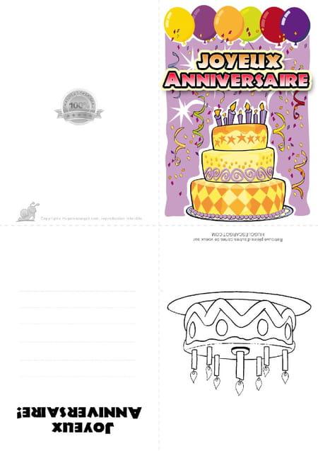 Carte Anniversaire Gateau 7 Ans
