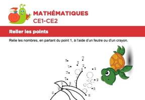 Mathématiques, relier les points, la tortue
