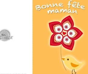 Carte fête des mères poussin et fleur