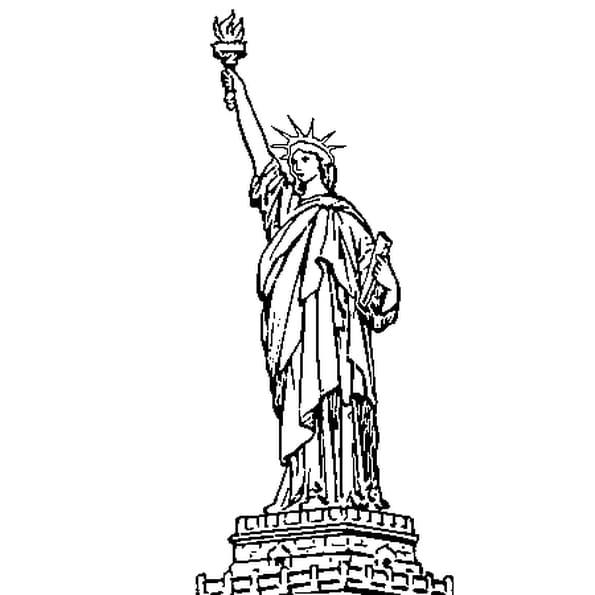 Dessin statue de la liberte a colorier