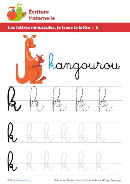 Les lettres minuscules, je trace la lettre k