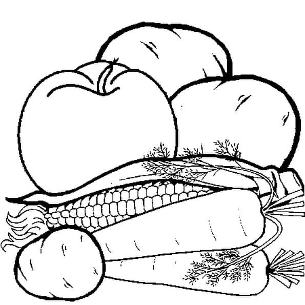 Coloriage Légumes et Fruits en Ligne Gratuit à imprimer